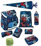 Spiderman Schulranzen Set 9-teilig mit Federmappe, Schultüte 85cm, Turnbeutel, Regen/Sicherheitshülle SPON8252-GR