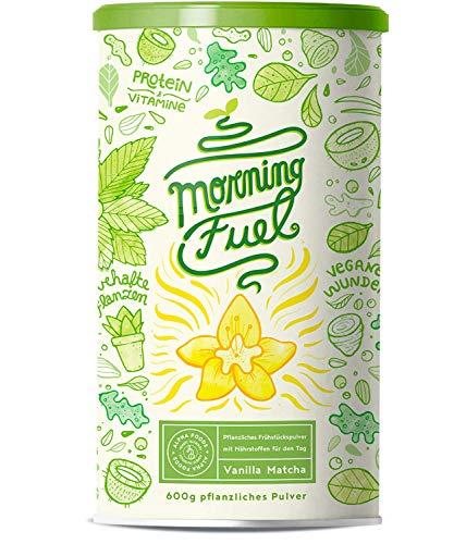 Morning Fuel | Frühstücksmischung mit Mikro- & Makronährstoffen | Quinoa, Chia, MCT Öl, Erbsenprotein, Hafer, Algen, Alfalfa, Spinat, Maca | Vitamine B6 + B12 | 600g Pulver mit Vanille -