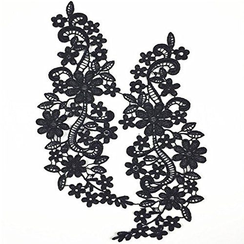 usjee 1 Paar creme Spitze Blumen-Applikation Patches Stickerei Nähen Craft Dekoration Style#2 Black Bridal Lace Applique