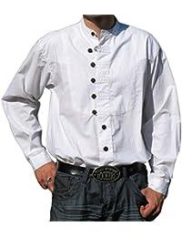 HEMAD Chemise en coton médiévale pour homme Ache - Blanc, Vert, Bleu, Beige