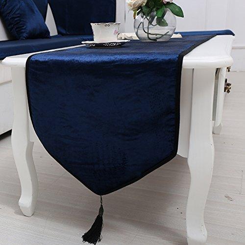 DHSNJKL Tischläufer/Pure Color Velvet Table Flag/Tee tischläufer/tischläufer/Bett-Runner-E 35x180cm(14x71inch) Gold Pur Tee
