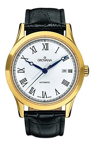 GROVANA 1218.2512 Montre bracelet Homme, Cuir, couleur: noir