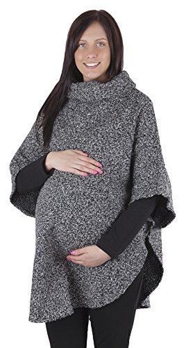 Poncho 3057 - hiver/printemps - convient pour la grossesse Tons de gris