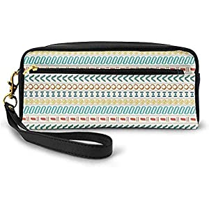 Motivo étnico a Rayas culturales de Boho Diseño Artesanal del sudoeste Tradicional de Las Primeras Naciones Pequeña Bolsa de Maquillaje Estuche de lápices 20cm * 5.5cm * 8.5cm
