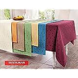 TEXTURAS SELECTION Mantel Antimanchas LONETA RESINADA Color Liso IMPERMEABLE Tamaños Especiales ( 6 colores disponibles ) TISCHDECKER DOUISBURG (REDONDO 160 cms, AZUL)