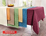 Texturas Selection Mantel Antimanchas LONETA RESINADA Color Liso Impermeable Tamaños Especiales (6 Colores Disponibles) TISCHDECKER DOUISBURG (Redondo 160 cms, Azul)