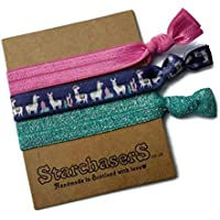 Pack of 3 Llama Hair Ties with Glitter elastic. Beautiful Soft Hairbands that you can wear as a bracelet too!