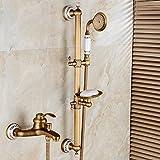Qwer Rubinetto Antique semplice doccia Cu tutti retrò Miscelatore vasca da bagno ceramiche continentale Ascensore doccia testa ruota l'acqua per il bagno