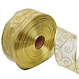 Leisial Hundehalsband Weihnachten Schleifenband Rot Weihnachtsdekoration Ribbon Weihnachtsbänder Dekoband Geschenkband 5CM*200CM Gold