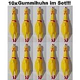 10x Hundespielzeug Gummihuhn Huhn Quietsch Chicken Hahn Hund Tier Spielzeug 17cm