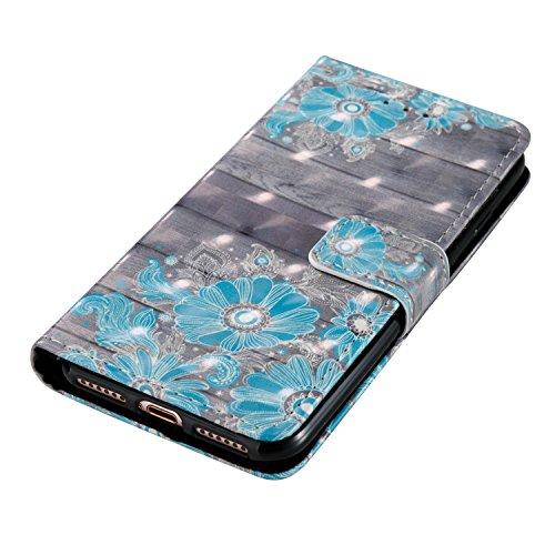 3D iPhone 7 Hülle, PU Leder Hülle für Ledertasche Schutzhülle Case[Stand Feature] Flip Case Cover Etui mit Karte Slots Hülle für Apple iPhone 7(4.7 Zoll)+Staubstecker (1) 8