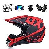 Novopus:Cross Helmet Moto, Noir et Rouge, Casque de Motocross Adulte avec des Lunettes Gants...