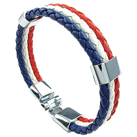 SODIAL(R) Jewelry bracelet, France French flag bracelet, for men's and ladies' leather, alloy, white red-blue (width 14 mm, length 20 cm)