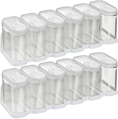 Haushaltsdose Gewürzdosen Schüttdosen Streudosen Vorratsdosen 0,25l 12er Set mit 2 Regalen weiß