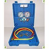 Grupo manométrico analizador de carga de gas refrigerante R 410 con varillas y manómetros para aire acondicionado