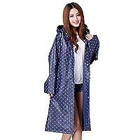 Women's Raincoat Long Sleeves With Hood EVA Polka Dot Waterproof Rain Jacket Long Hooded Rainwear Ladies Showerproof Mac With Pouch for Women, L, Blue
