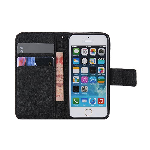 Apple iPhone 5 iPhone 5S iphone SE Custodia in pelle, Cover per iPhone 5/5S, Ekakashop Custodia PU Cuoio Caso Con Carte di Credito Slot Protettiva in Pelle Flip Folio Leather Book Wallet cordicella di Divaricatori