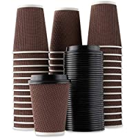 ‏‪Majestic Settings Brown Rippled Disposable Hot Beverage Paper Coffee Cups with Lids, 12 oz 40 Pack‬‏