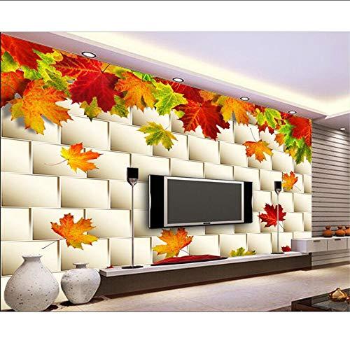Qqasd Tapeten für Wohnzimmer Herbst Golden Autumn leaves Maple Soft Paket Wand 3D TV Hintergrund Wand 3d Tapete-350X256CM -