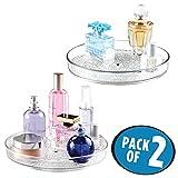 mDesign Set da 2 Lazy Susan Organizzatore Cosmetici Rotante per Armadietto per Tenere Trucco, Prodotti di Bellezza - Trasparente