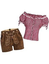 Damen Set Trachten Kniebund Lederhose Shorts neue Länge hellbraun + Träger + Trachtenbluse Carmenbluse verschiedene Farben, Marke Gaudi-Leathers
