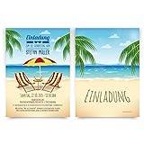 Einladungskarten zum Geburtstag (30 Stück) Strand Meer Urlaub Palmen Sand Beach See Hawaii