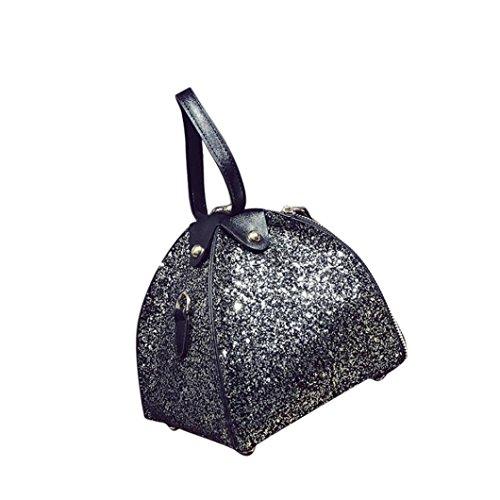 BZLine® Frauen Pailletten Mode Kupplung Abend Party Tasche Handtasche, 16cm *18cm *16cm Schwarz