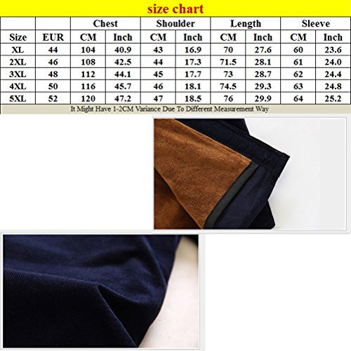 Zhhlaixing Classico Fashion Mens Corduroy Shirts Warm Thicken Fleece Lined Shirts Mix-Colors Coffee