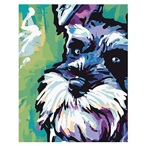 wdsdtt Malen nach Zahlen Malen nach Zahlen DIY 40x50 Schnauzer Welpen niedlichen Tier Leinwand Hochzeit Dekoration Kunst Bild Geschenk -