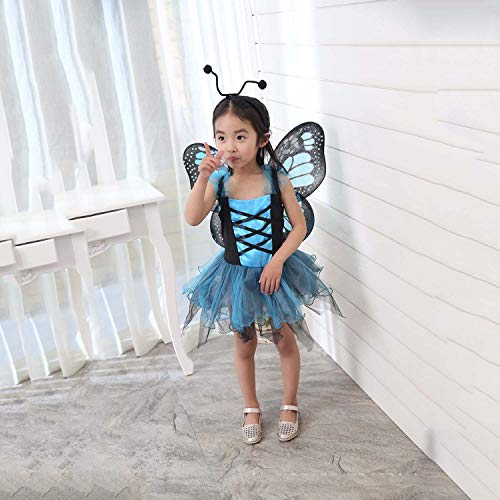 Motto Kostüm 80's Tanz - HYY Halloween-Kostüm-Mädchen-Kind-Prinzessin Kostüm Geburtstag Festzug-Partei-Tanz-Performance Karneval Lange Tüll Fancy Dress Up Outfits,Blau,M