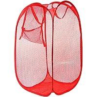 Sulfar Laundry Hamper Mesh Fabric for Ventilation Foldable Storage Pop Up Clothes Basket, Black, 0248