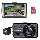 """OnReal Dual Dash Cam 3"""" Full HD Front and Rear Dash Cams Wide"""
