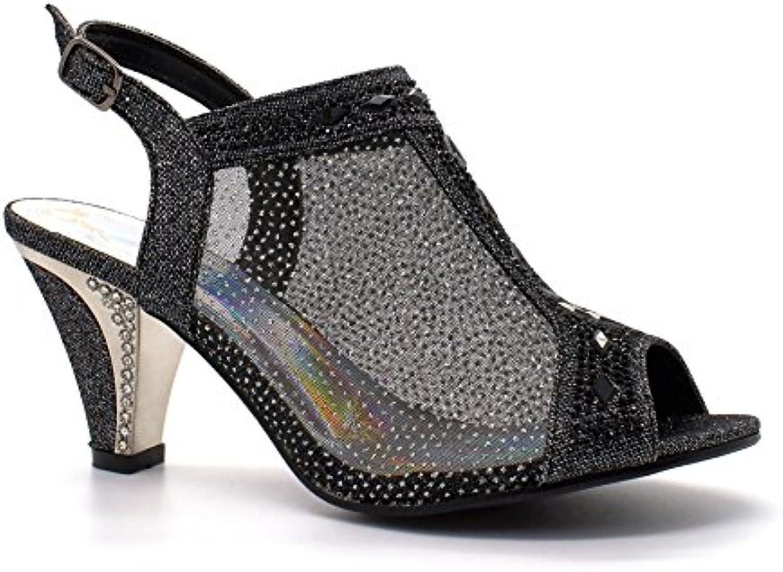 433e4a6e99fd Womens Ladies Diamante Diamante Diamante Mid Heel Glitter Evening Shoes  Wedding Party Prom Sandals B06XZK9T68 Parent