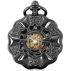 Alienwork Retro Handaufzug mechanische Taschenuhr Skelett Uhr graviert schwarz Metall W891-03