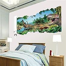 Pegatina de pared adhesivo mural de dinosaurios efecto 3D 90 x 50 cm