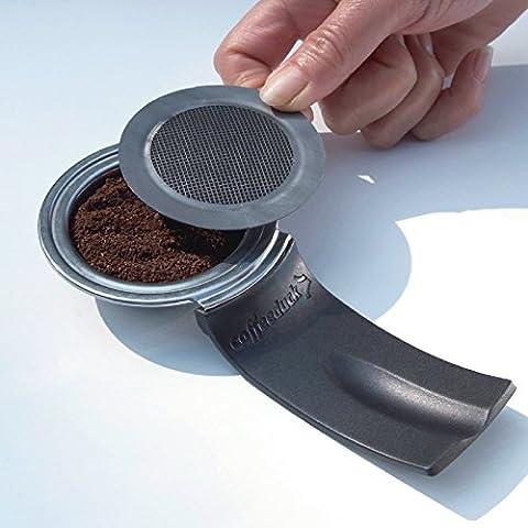 Permanent Kaffepad Wiederbefüllbar für Philips Senseo Kaffeepad-Maschinen / Für HD7810 HD7811 HD7812 geeignet / mit Halter / befüllbar mit Pads oder losem Kaffee / Spülmaschinenfest / schwarz-silber (HD7810 HD7811 HD7812)
