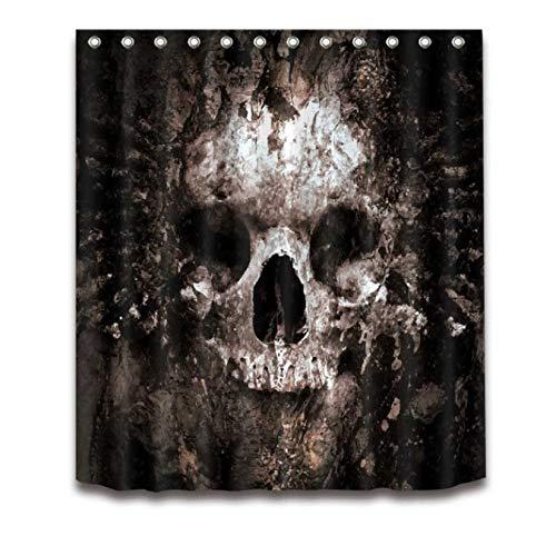 tten Skull Halloween Duschvorhang Und Badematte Set Wasserdichtem Polyester Bad Stoff Für Badewanne Art Decor 180X180cm ()
