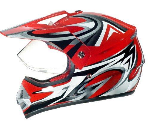 WinNet Casco da moto supermotard cross con visiera removibile integrale omologato rosso