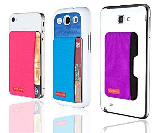 Sinjimoru SPS Smart Wallet funktioniert als Slim Wallet / aufklebbares Portemonnaie / Kartenetui / Kartenhalter für iPhones und Android Smartphones. Sinji Pouch Side (Schwarz) Schwarz