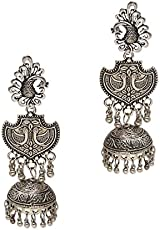 Watch Me Ethnic Traditional Party Wear Jhumkas for Women(Silver, ZKRPGJ1a)
