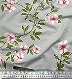 Soimoi Grau Moos Georgette Stoff Blätter, Blumen & Taube