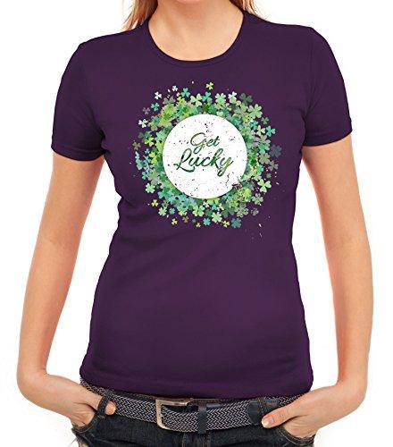 ShirtStreet Irland Paddy Saint St. Patrick's Day Partner Gruppen Damen T-Shirt Get Lucky Lila