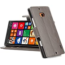 [ Nokia Lumia 930 Case ] - Funda De Piel JammyLizard Retro Wallet Cover Tipo Cartera, GRIS