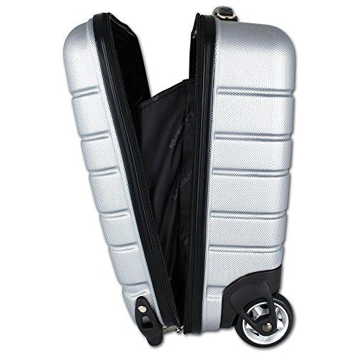 Koffer - Handgepäck - Bordgepäck - Boardcase - Laptopkoffer - Trolley Laptop mit Farbauswahl (Schwarz) Silber
