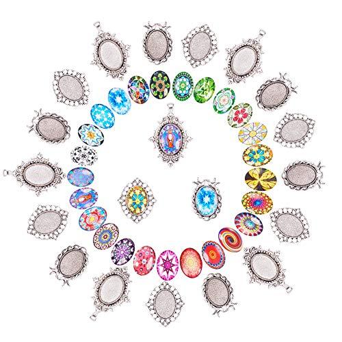 Pandahall Elite 30 Sets Anhänger Cabochon Einstellungen einschließlich 30 Stück Antik Silber tibetischen Stil Legierung Anhänger mit 30 Stück Oval Mosaik gedruckt Glas Oval Cabochons (Cabochons Blumen)