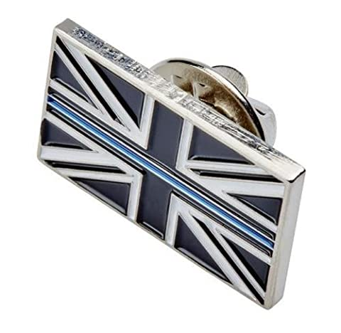 Polamb Products Thin Blue Line Union Jack UK Metal Tie Pin Lapel Badge