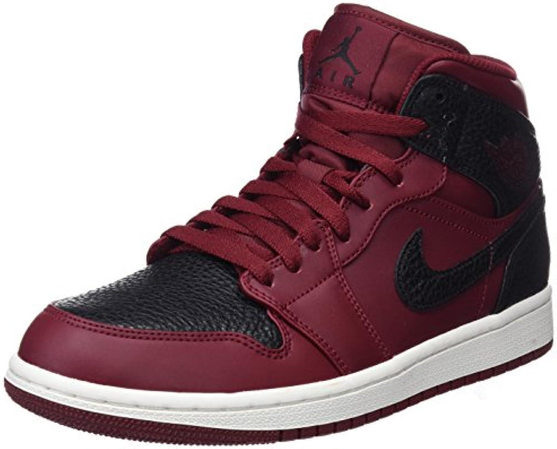Nike Herren Air Jordan 1 Mid Basketballschuhe  Rot (Team Re D Schwarz SummitWeiss)  42 EU