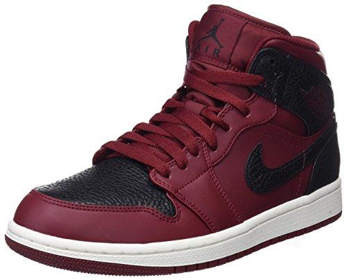 Nike Herren Air Jordan 1 Mid Basketballschuhe, Rot (Team Re D Schwarz Summit  Weiss 601), 42 EU