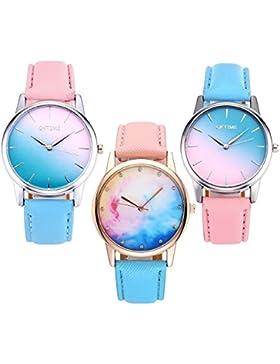 JSDDE 3x Fashion Cute Candy Farbe Damen Armbanduhr Blau-Pink Farbverlauf Quarz Uhr Freundschaft Schwestern Uhren...