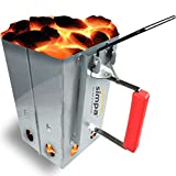 SIMPA® Large Chimney Charcoal Coal Starter BBQ Coal Fire Fast Lighter Grill Quick Start Galvanised Steel Camping Fire Ignition Lighter Coal Fuel Burner Lighting Kit Square 27cm (H) x 22cm (W)